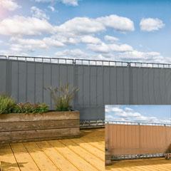 Produktbild Balkonblende 90x500 cm Polyester silbergrau