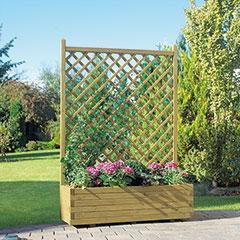 Produktbild Blumenkasten mit Rankgitter grün