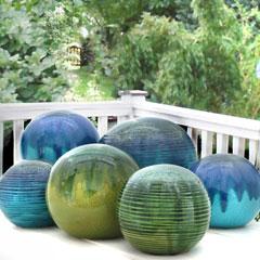 Produktbild Gartenkugel mit Farbverlauf D.24 cm grün Steinzeug
