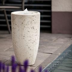 """Heissner Terrassenbrunnen """"Vase White Led"""""""